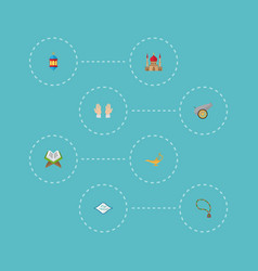 Flat icons bead palm artillery and other vector