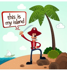 Pirate discover an island vector