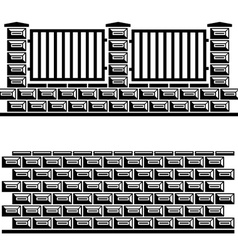 Black decorative brick wall vector