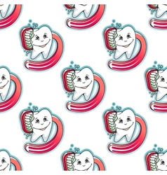 Cartoon tooth and brush seamless pattern vector image