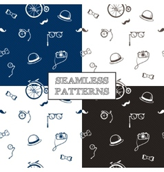 Hand drawn hipster seamless patterns set vector