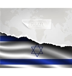 Paper with hole and shadows israel flag vector