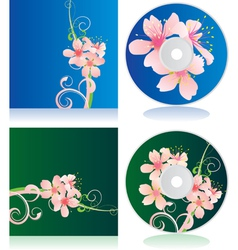 Disc covers with flowers vector