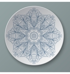 Floral ornament plate isolated vector