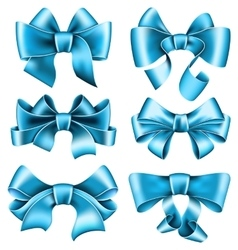 Six blue bows vector