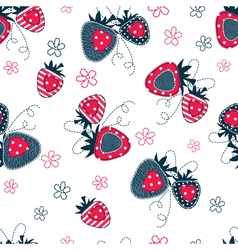 Saemless pattern with strawberries vector