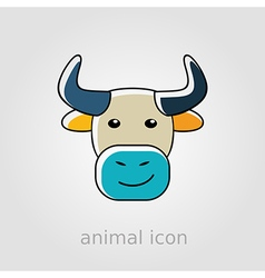 Bull icon farm animal vector