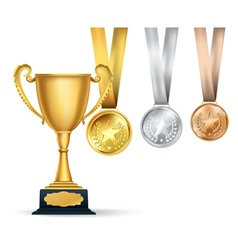 Golden trophy cup and set of medals vector