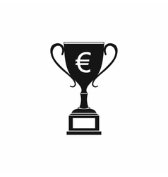 Winner cup with euro sign icon simple style vector