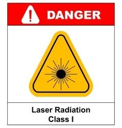 Danger laser radiation class i symbol in yellow vector