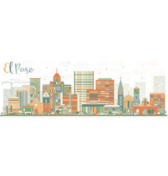 Abstract el paso skyline with color buildings vector
