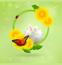 background with eggs and easter bunny vector image