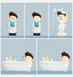 bath toilet shower time salary man cartoon vector image vector image