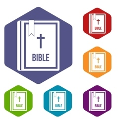 Bible icons set vector image vector image