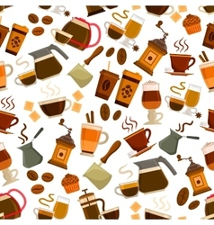 Coffee drinks desserts seamless pattern vector