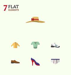 Flat garment set of heeled shoe underclothes vector