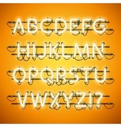 Glowing Neon Honey Yellow Alphabet vector image vector image