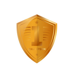golden trophy of shield shape vector image