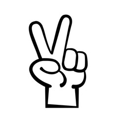 hand peace sign cartoon vector image vector image