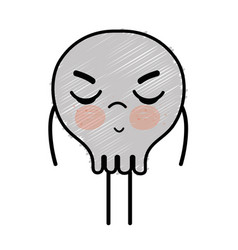 Kawaii cute angry skull design vector