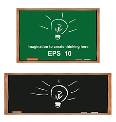 Lamp on blackboardgenerate ideas and imagination vector