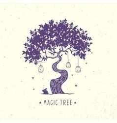 Magic tree silhouette vector