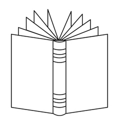 Open thick book icon outline style vector