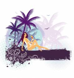 palms girl vector image