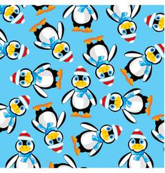 Penguins on turn blue background vector