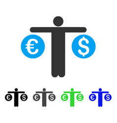 Person compares currency flat icon vector