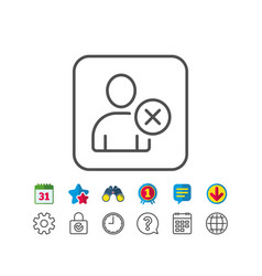 Remove user line icon profile avatar sign vector