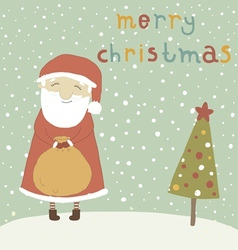 Santa claus with a magical bag vector