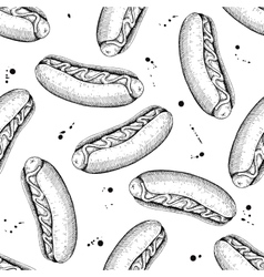 seamless vintage hot dog pattern Hand vector image