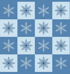Snowflake pattern seamless checkered winter vector