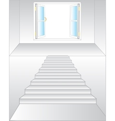 Stairway to window vector