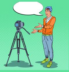 Stylish guy vlogger recording video pop art vector