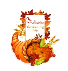 Thanksgiving Day greeting cornucopia design vector image