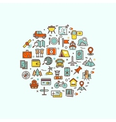Traveling and transport icons in circle design for vector image vector image
