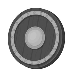 Viking shield icon in monochrome style isolated on vector