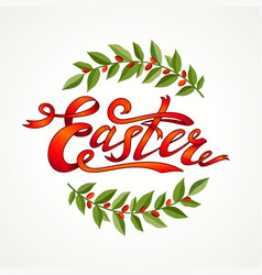 vintage hand drawn easter greeting card green vector image