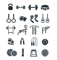 Weightlifting flat silhouettes icons set vector image vector image