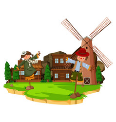 Western farm scene with scarecrows and windmill vector