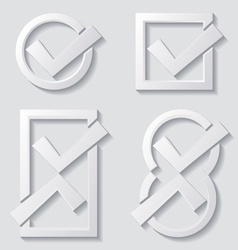 White tick icons vector