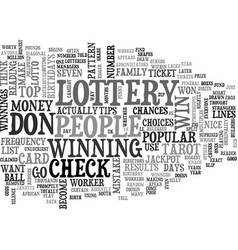 Win the lottery tips text word cloud concept vector