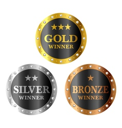 Gold silver and bronze winner medals vector