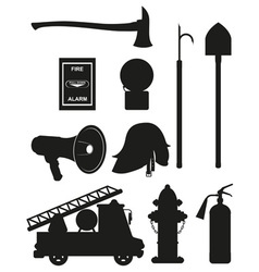 set icons of firefighting equipment black vector image