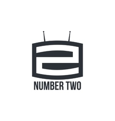 Black and white number two logo as tv set vector