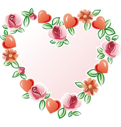 Flowers heart vector