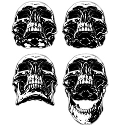 Black scary graphic human skull tattoo set vector