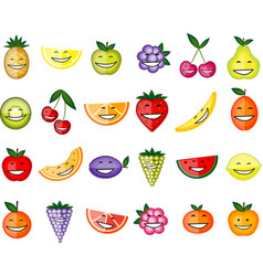 Funny fruit characters smiling for your design vector image